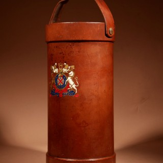 A British Very Interesting Coat of Arms Shooting Stick/ Umbrella/Walking Stick Leather Stand. Circa 1920/40