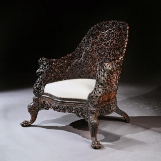 Exceptional 19th Century Anglo Indian Carved Teak Armchair