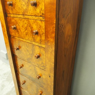 Victorian Figured and Burr Walnut Wellington Chest