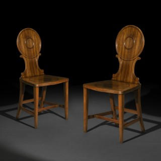 Pair of George III Chippendale Hall Chairs