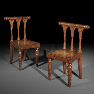 Pair of Regency Architectural Gothic Hall Chairs