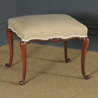 Antique English Victorian Walnut Upholstered Square Dressing / Foot Stool (Circa 1860)