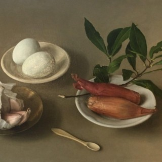 Still Life with Garlic, Shallots and Eggs