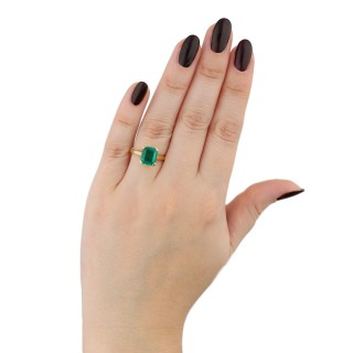 Vintage Colombian emerald solitaire ring, circa 1970.
