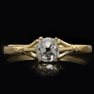 Victorian diamond solitaire ring, circa 1890.