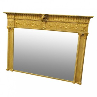 Adams Style Gilt Overmantel Mirror