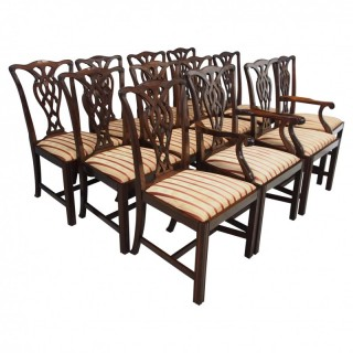 Set of 12 Georgian Style Mahogany Dining Chairs