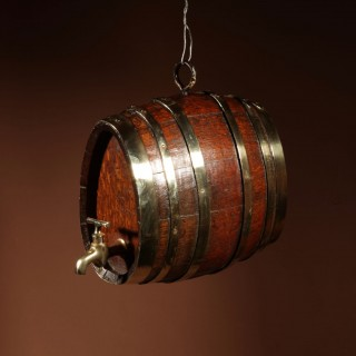 A Very Rare And Beautiful Coopered Oak And Brass Small Hanging Barrel.
