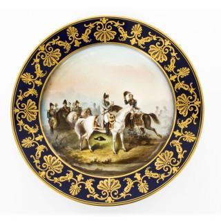 Antique Pair Sevres Napoleon Cabinet Plates Mentmirail Imp de Sevres 19th C
