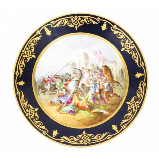 Antique French Sevres Cabinet Plate Medieval Battle Scene 19th Century
