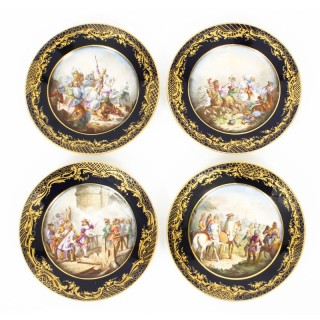 Antique Set of 4 Sevres Hand-Painted Sevres Porcelain Cabinet Plates 19th C
