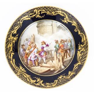 Antique Set of 4 Sevres Hand-Painted Sevres Porcelain Cabinet Plates 19th C