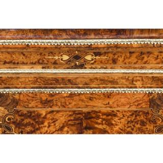 Antique Victorian Burr Walnut Sevres Plaque Mirror Back Credenza Cabinet 19th C