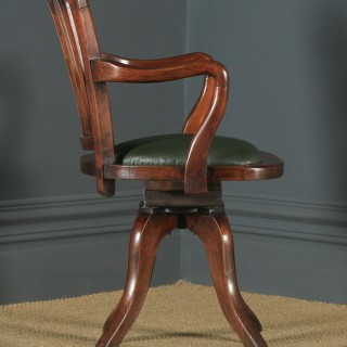 Antique English Victorian Beech Revolving Office Desk Arm Chair (Circa 1890)