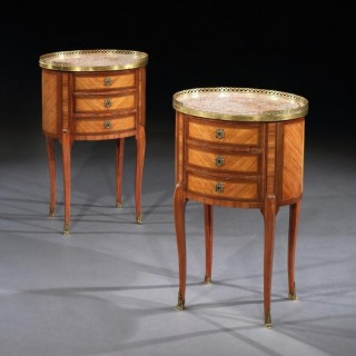 Fine Pair Of Late 19Th Century Oval Kingwood And Marble Bed Side Tables, Stamped P Chorier.