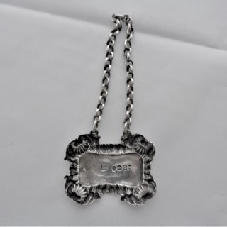 Good quality cast Victorian silver wine label London 1837 Rawlings & Summers