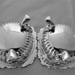 Large pair crested cast George III Regency silver salts London 1817 John Edward Terrey