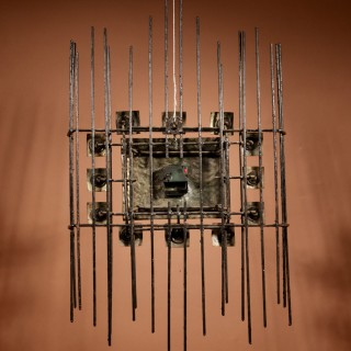Brutalist Period Iron and Enamel Wall Clock, Circa 1960.