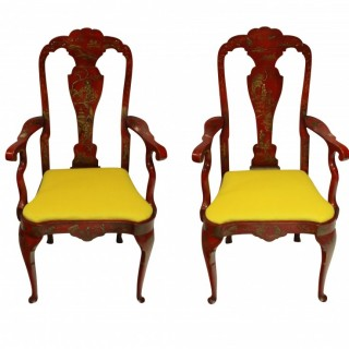 A PAIR OF SCARLET JAPANNED ARMCHAIRS