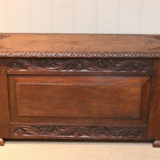 Solid Oak Carved Coffer