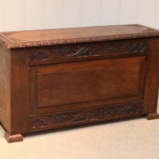 Solid Oak Carved Coffer