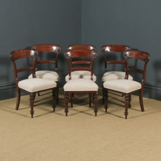 Antique English William IV Set of Six 6 Mahogany Bar Back Dining Chairs (Circa 1840)