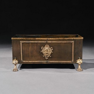 19th Century French Brass And Copper Table Planter Jardiniere