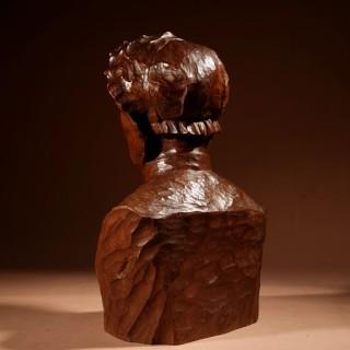 A Beautiful Expressive Carved Wooden Bust Of a Woman, Signed B. Tuerlinckx = Boudewijn Tuerlinckx (Mechelen 1873-1945)