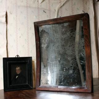 A Rare George III Oak Concave Wall Mirror c.1800