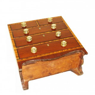 Regency Mahogany & Satinwood Miniature Chest Of Drawers