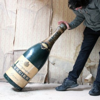 A Mid-20thC Plaster & Papier-Mâché Oversized Advertising Bottle for Mercier Champagne c.1953