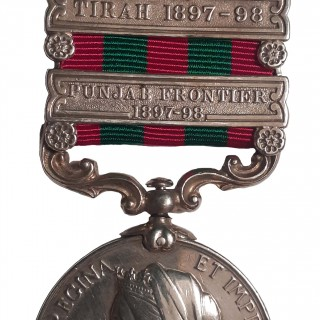 INDIA MEDAL,1895-1902, QVR, TWO CLASPS PUNJAB FRONTIER 1897-98, TIRAH 1897-98, TO PRIVATE J. LEAF
