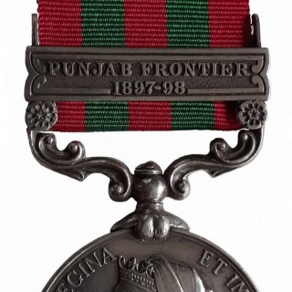 AN EXTREMELY RARE, POSSIBLY UNIQUE, INDIA MEDAL, 1895-1902, QVR, ONE CLASP, PUNJAB FRONTIER 1897-98, TO SENIOR POST MASTER MR. KISHEN CHAND
