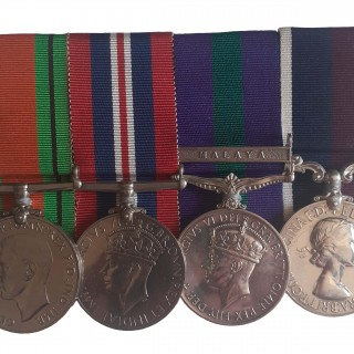 A ROYAL AIR FORCE, WORLD WAR TWO, MALAYA, LONG SERVICE GROUP OF 4 TO FLIGHT SERGEANT WILLIAM BENJAMIN HILL
