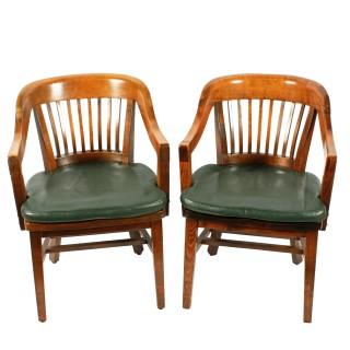 Pair of Gunlocke Chair Co. Arm Chairs