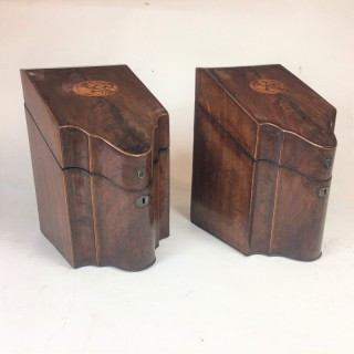 Pair of 18th century Sheraton mahogany former cutlery/knife boxes