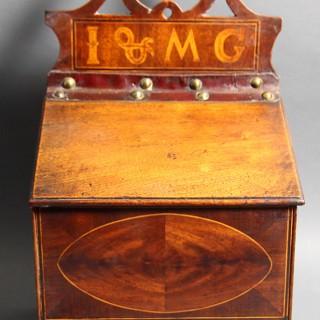 A GEORGE III MAHOGANY CANDLE BOX CIRCA 1810 – 1820