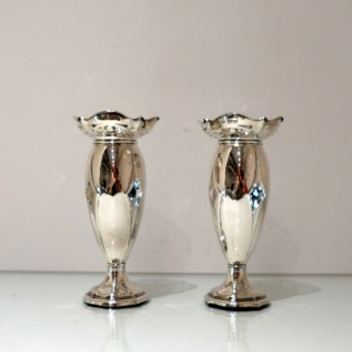 Antique George V Sterling Silver Pair Vases London 1915 Corke Brothers & Co