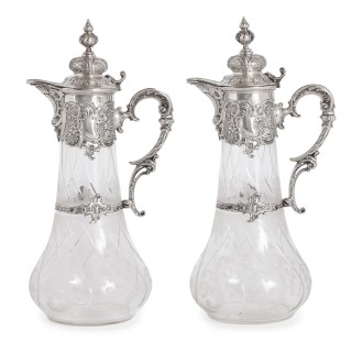 Pair of etched glass and silver pitchers by Bruckmann & Söhne