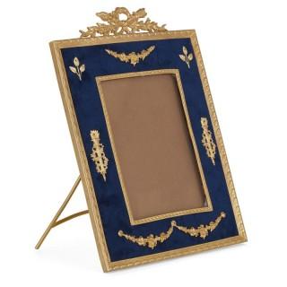 French velvet fronted gilt bronze photograph frame