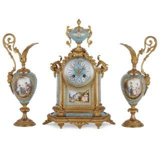 Rococo style gilt bronze mounted porcelain clock garniture