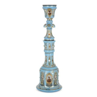 Antique blue Bohemian glass hookah pipe