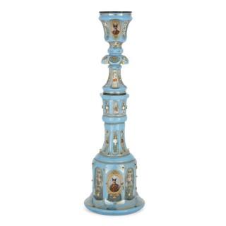 Antique blue Bohemian glass hookah pipe