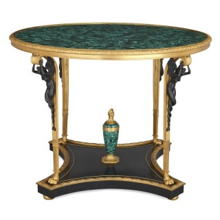 French malachite, gilt and patinated bronze centre table