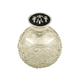 Antique Sterling Silver & Tortoiseshell Perfume / Scent Bottle 1917