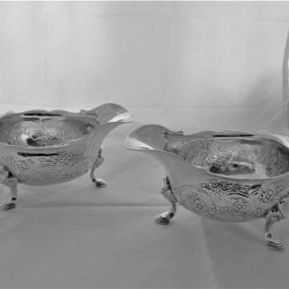 Superb pair flat chased armorial George II silver gravy or sauce boats London 1743 Thomas Whipham