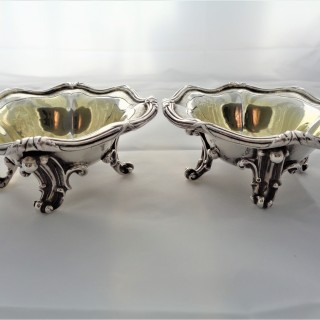 Super quality pair large Victorian silver gilt salts London 1847 Benjamin Smith