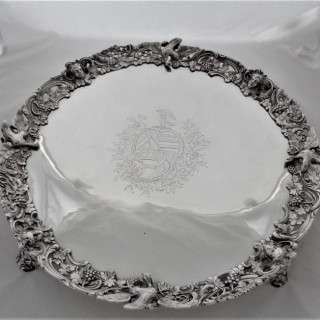 Magnificent cast bordered armorial early George III silver salver London 1769 Smith&Sharpe