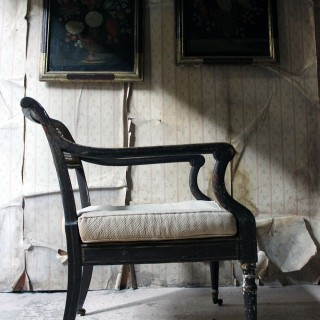A Regency Period Parcel Gilt & Painted Open Armchair c.1820