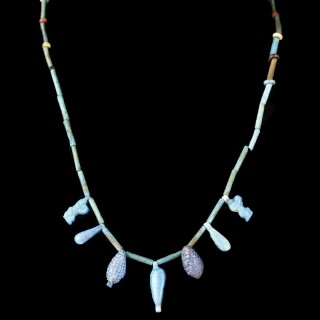 Egyptian Blue Faience Necklace with Amulets